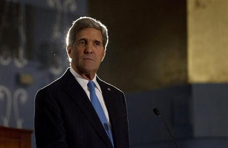 U.S. Secretary of State John Kerry participates in a joint news conference with Egypt's Foreign Minister Nabil Fahmy (unseen) in Cairo, November 3, 2013. REUTERS/Jason Reed