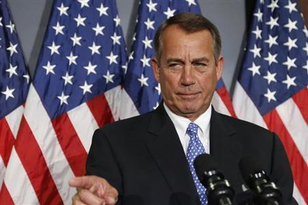 U.S. House Speaker John Boehner (R-OH) calls on a reporter during a news conference at the Republican National Committee offices on Capitol Hill in Washington October 23, 2013. REUTERS/Jonathan Ernst