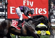 Jockey Damien Oliver crosses the finish line riding race favourite Fiorente to win the A$6 million ($5.7 million) Melbourne Cup at Flemington Racecourse in Melbourne November 5, 2013. REUTERS/Brandon Malone