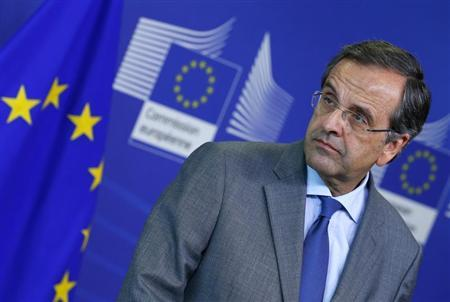 Greece's Prime Minister Antonis Samaras attends a news conference after a meeting with European Commission President Jose Manuel Barroso at the EU Commission headquarters in Brussels September 17, 2013. REUTERS/Yves Herman
