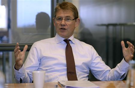 Lars Sorensen, CEO of Novo Nordisk, gestures during an interview at the company's headquarter in Bagsvaerd near Copenhagen, November 4, 2013. REUTERS/Fabian Bimmer