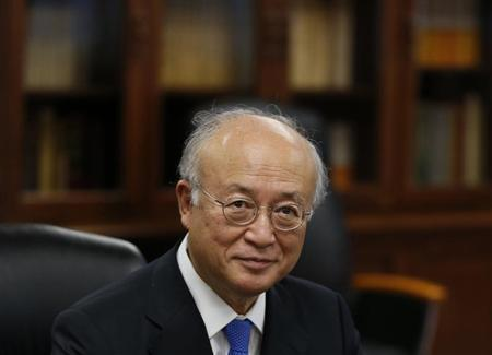 International Atomic Energy Agency (IAEA) Director General Yukiya Amano attends a meeting with Japan's Economy, Trade and Industry Minister Toshimitsu Motegi to talk about the tsunami-crippled Fukushima Daiichi nuclear plant issue at Motegi's ministry in Tokyo October 9, 2013.REUTERS/Toru Hanai