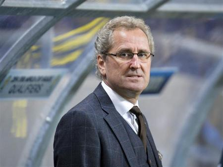 Sweden's coach Erik Hamren is pictured before his team's 2014 World Cup qualifying soccer match against Germany at Friends Arena in Stockholm October 15, 2013. REUTERS/Anders Wiklund/TT News Agency/Files