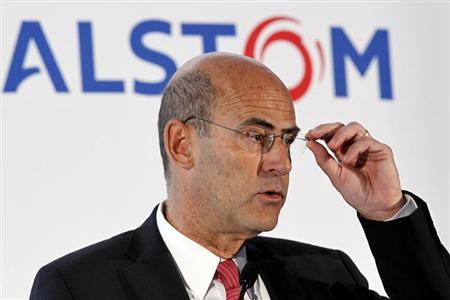Patrick Kron, chairman and chief executive of French power and transport engineering company Alstom, gestures as he speaks during a news conference to present the company's 2011-2012 annual results in Paris May 4, 2012. REUTERS/Charles Platiau