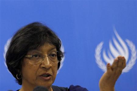 U.N. High Commissioner for Human Rights Navi Pillay speaks during a news conference on her trip around Sri Lanka at the U.N. headquarters in Colombo August 31, 2013. REUTERS/Dinuka Liyanawatte