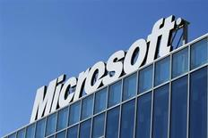 The Microsoft logo is seen at their offices in Bucharest March 20, 2013. REUTERS/Bogdan Cristel