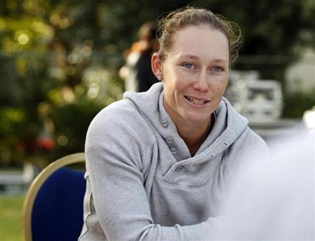 Sam Stosur of Australia speaks during a round-table meet on the first day of the WTA Dubai Tennis Championships February 20, 2012. REUTERS/Jumana El Heloueh