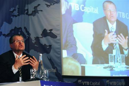 Russia's Alexey Ulyukayev speaks during a panel discussion at the VTB Capital investment conference in New York, April 18, 2012. REUTERS/Keith Bedford