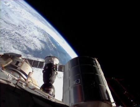 The Soyuz spacecraft docks with the International Space Station (ISS) in this still image taken from video November 7, 2013. REUTERS/NASA TV/Handout via Reuters