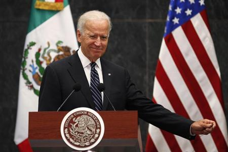 U.S. Vice President Joe Biden gestures after a meeting with Mexico's President Enrique Pena Nieto at Los Pinos Presidential Residence in Mexico City September 20, 2013. REUTERS/Edgard Garrido