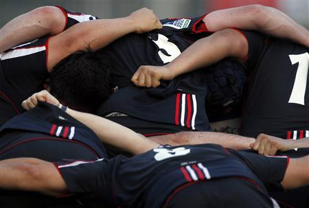 Hong Kong players form a scrum during their HSBC Asian 5 Nations rugby match against South Korea in Hong Kong April 24, 2010. REUTERS/Bobby Yip