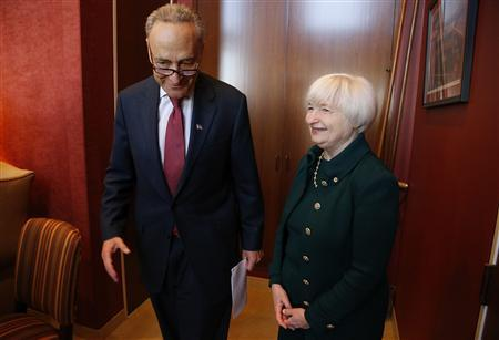U.S. Federal Reserve Vice Chair Janet Yellen (R), President Barack Obama's nominee to succeed Ben Bernanke as chairman, meets with Senator Charles Schumer (D-NY) in his office on Capitol Hill in Washington, November 7, 2013. REUTERS/Jonathan Ernst