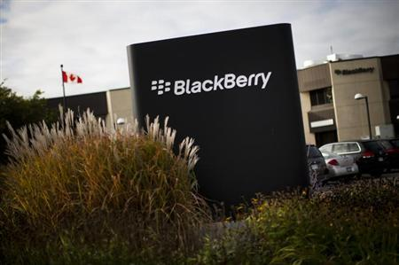 A sign is seen at the Blackberry campus in Waterloo, September 23, 2013. REUTERS/Mark Blinch/Files