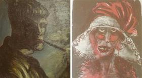 Montagem com fotos de duas obras antes desconhecidas do pintor alemão Otto Dix, fotografadas duante uma coletiva de imprensa em um tribunal de Augsburg, na Alemanha. Os Estados Unidos pediram à Alemanha que publique uma lista das 1.400 obras de arte roubadas pelos nazistas e que foram encontradas em um apartamento de Munique no ano passado, durante uma investigação alemã de evasão fiscal, disseram autoridades norte-americanas na quinta-feira. 5/11/2013. REUTERS/Michael Dalder