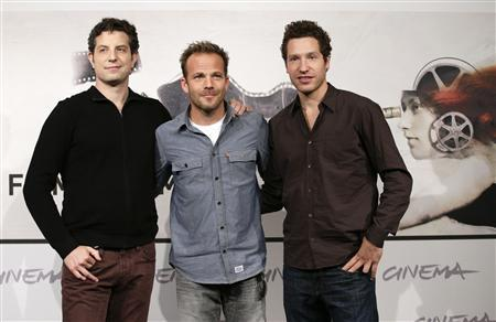 Directors Alan and Gabe (R) Polsky pose with actor Stephen Dorff (C) during the photocall for the movie ''The Motel Life'' at the Rome Film Festival in this November 16, 2012, file photo. REUTERS/Max Rossi/Files