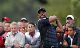 Tiger Woods of the U.S. tees off on the fourth hole during the inaugural Turkish Airlines Open in the south west city of Antalya November 7, 2013. REUTERS/Umit Bektas