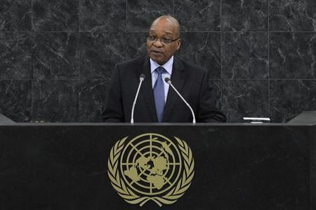 Jacob Zuma, President of the Republic of South Africa addresses the 68th United Nations General Assembly at UN headquarters in New York, September 24, 2013. REUTERS/Brendan McDermid