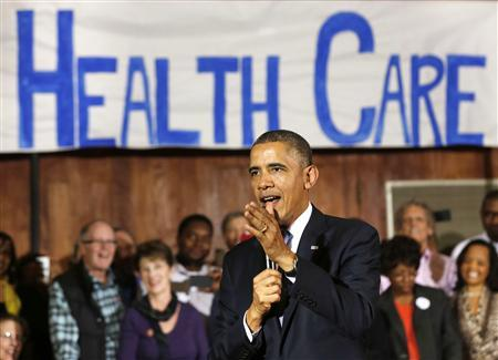 U.S. President Barack Obama speaks about Affordable Health Care to volunteers at the Temple Emanu-El in Dallas, Texas, November 6, 2013. REUTERS/Larry Downing