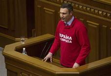 Ukrainian heavyweight boxer and opposition politician Vitaly Klitschko addresses parliament in Kiev, October 24, 2013. REUTERS/Valentyn Ogirenko