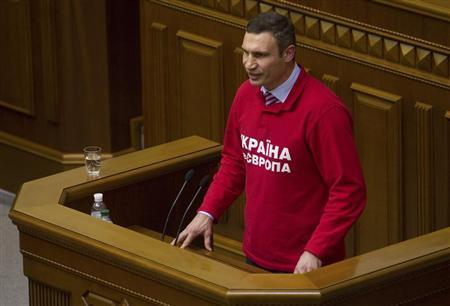 Ukrainian heavyweight boxer and opposition politician Vitaly Klitschko addresses parliament in Kiev, October 24, 2013. REUTERS/Valentyn Ogirenko