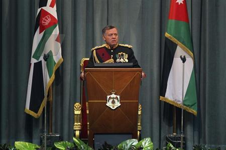 Jordan's King Abdullah speaks during the opening of the 17th Ordinary Session of Parliament in Amman November 3, 2013. REUTERS/Muhammad Hamed