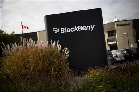 A sign is seen at the Blackberry campus in Waterloo, September 23, 2013. REUTERS/Mark Blinch