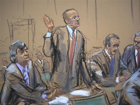 An artist's sketch of general counsel Peter Nussbaum, representing Steven A. Cohen's SAC Capital Advisors hedge fund, pleads guilty to fraud charges on behalf of the SAC as part of a $1.2 billion deal to resolve a long running insider trading investigation during a court hearing in New York November 8, 2013. REUTERS/Jane Rosenburg