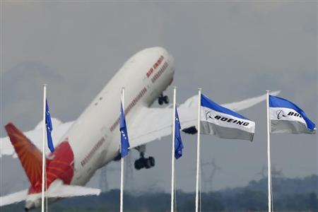 An Air India Boeing 787 Dreamliner prepares for a flying display, during the 50th Paris Air Show, at the Le Bourget airport near Paris, June 20, 2013. REUTERS/Pascal Rossignol