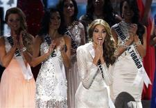 Miss Venezuela Gabriela Isler reacts during the Miss Universe 2013 pageant at the Crocus City Hall in Moscow November 9, 2013. REUTERS/Maxim Shemetov