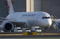 Staff of Japan Airlines' (JAL) enter the company's Boeing Co's 787 Dreamliner plane at New Tokyo international airport in Narita, east of Tokyo January 17, 2013. REUTERS/Toru Hanai
