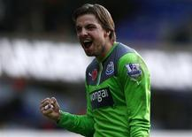 Newcastle United's goalkeeper Tim Krul celebrates after beating Tottenham Hotspur in their English Premier League soccer match at White Hart Lane in London, November 10, 2013. REUTERS/Eddie Keogh