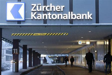 The company's logo is seen at an office building of Swiss bank Zuercher Kantonalbank (ZKB) in Zurich February 8, 2013. REUTERS/Arnd Wiegmann