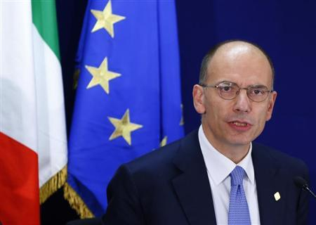 Italy's Prime Minister Enrico Letta holds a news conference at the end of a European Union leaders summit in Brussels October 25, 2013. REUTERS/Yves Herman