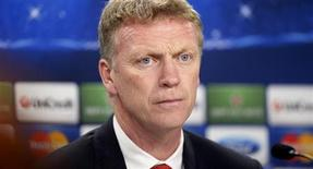 Manchester United manager David Moyes attends a news conference a day before their Champions League soccer match against Real Sociedad at Anoeta stadium in San Sebastian November 4, 2013. REUTERS/Vincent West