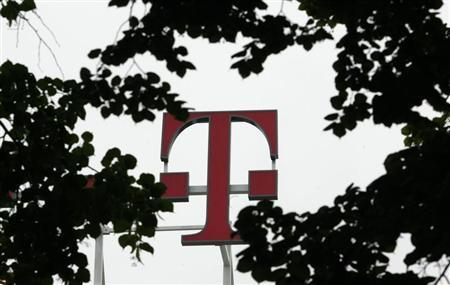 The logo at company headquarters of Deutsche Telekom AG is pictured in Bonn May 30, 2008. REUTERS/Ina Fassbender