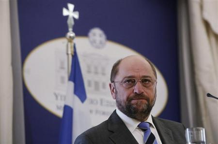 European Parliament President Martin Schulz pauses as he addresses reporters during a news conference at the Greek foreign ministry in Athens November 4, 2013. REUTERS/John Kolesidis