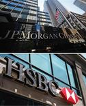 JPMorgan et HSBC sont en tête des 29 banques censées constituer des fonds propres supplémentaires à partir de 2016 en raison de leur taille et de leur influence, selon le Conseil de stabilité financière (CSF). /Photos d'archives/REUTERS/Mike Segar/Shannon Stapleton