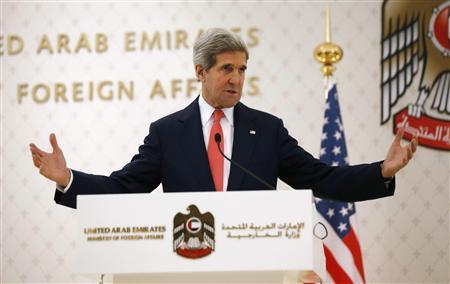 U.S. Secretary of State John Kerry speaks at a news conference with UAE Foreign Minister Abdullah bin Zayed Al Nahyan (not pictured) at the foreign ministry in Abu Dhabi, November 11, 2013. REUTERS/Jason Reed