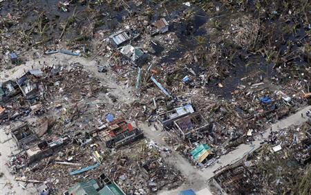 An aerial view of devastation of super Typhoon Haiyan as it battered a town in Samar province in central Philippines November 11, 2013. REUTERS/Erik De Castro