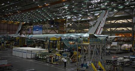 A Boeing 777 sits on the assembly line at the company's operations in Everett, Washington, October 18, 2012. REUTERS/Andy Clark