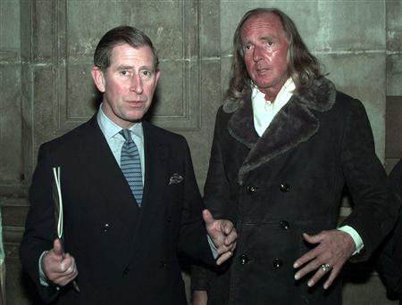 The Prince of Wales (L) meets composer John Tavener after a concert at St. Paul's Cathedral. BRITAIN ROYALS