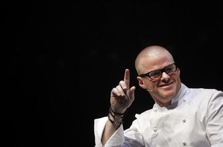 British chef Heston Blumenthal gestures as he speaks during the Madrid Fusion X International Summit of Gastronomy in Madrid January 25, 2012. REUTERS/Susana Vera