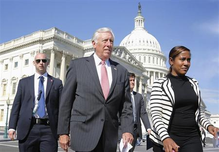 House Minority Whip Steny Hoyer (D-MD) (2nd L) arrives for a news conference at the U.S. Capitol in Washington, October 23, 2013. REUTERS/Jonathan Ernst