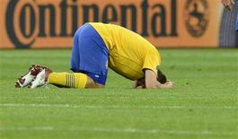 Sweden's Anders Svensson reacts to his team's defeat by England during their Group D Euro 2012 soccer match at the Olympic Stadium in Kiev, June 15, 2012. REUTERS/Nigel Roddis