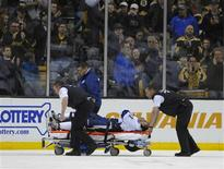 Boston, MA, USA; Tampa Bay Lightning center Steven Stamkos (91) is wheeled off on a stretcher during the second period against the Boston Bruins at TD Banknorth Garden. Mandatory Credit: Bob DeChiara-USA TODAY Sports