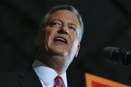 Liberal Democrat Bill de Blasio speaks during his election victory party at the Park Slope Armory in New York November 5, 2013. REUTERS/Shannon Stapleton