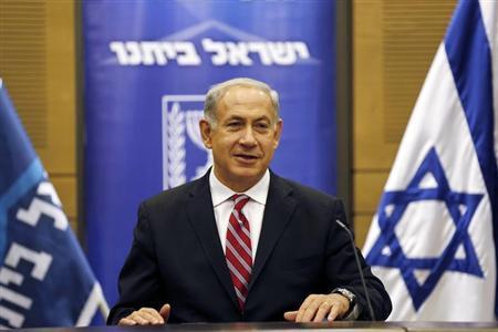 Israel's Prime Minister Benjamin Netanyahu attends a Likud-Beitenu faction meeting at the Knesset, the Israeli parliament, in Jerusalem November 11, 2013. REUTERS/Amir Cohen