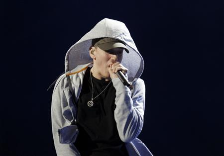 U.S. rapper Eminem performs during the Abu Dhabi F1 Grand Prix After Race closing concert at the du Arena on Yas Island November 4, 2012. REUTERS/Jumana ElHeloueh
