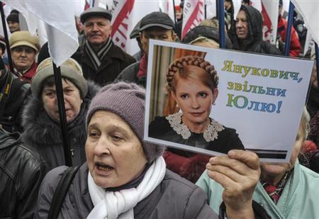 A supporter of jailed former Ukrainian Prime Minister and opposition leader Yulia Tymoshenko holds a portrait of her during a rally in front of the Parliament building in Kiev November 13, 2013. REUTERS/Sergii Polezhaka