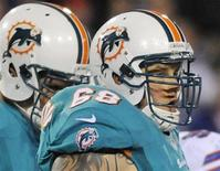 Miami Dolphins guard Richie Incognito (68) pauses between plays during the second quarter in their NFL football game against the Buffalo Bills in Orchard Park, New York in this file photo taken November 15, 2012. REUTERS/Doug Benz/Files